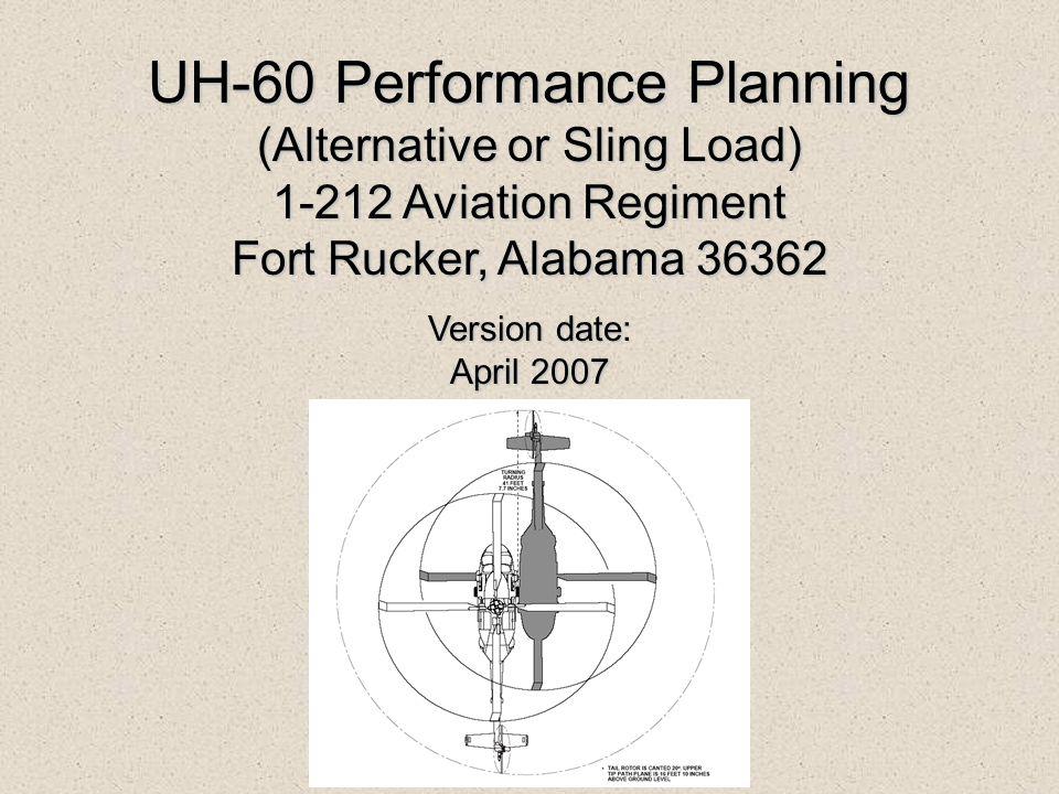 UH-60 Performance Planning (Alternative or Sling Load) 1-212 Aviation Regiment Fort Rucker, Alabama 36362