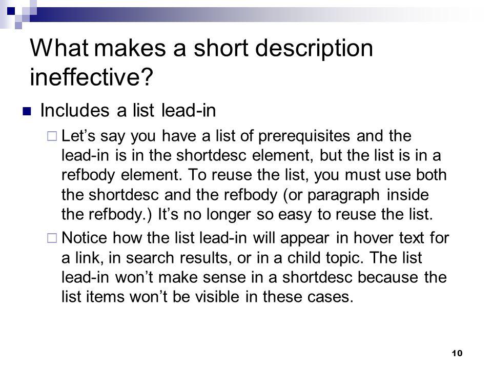 What makes a short description ineffective