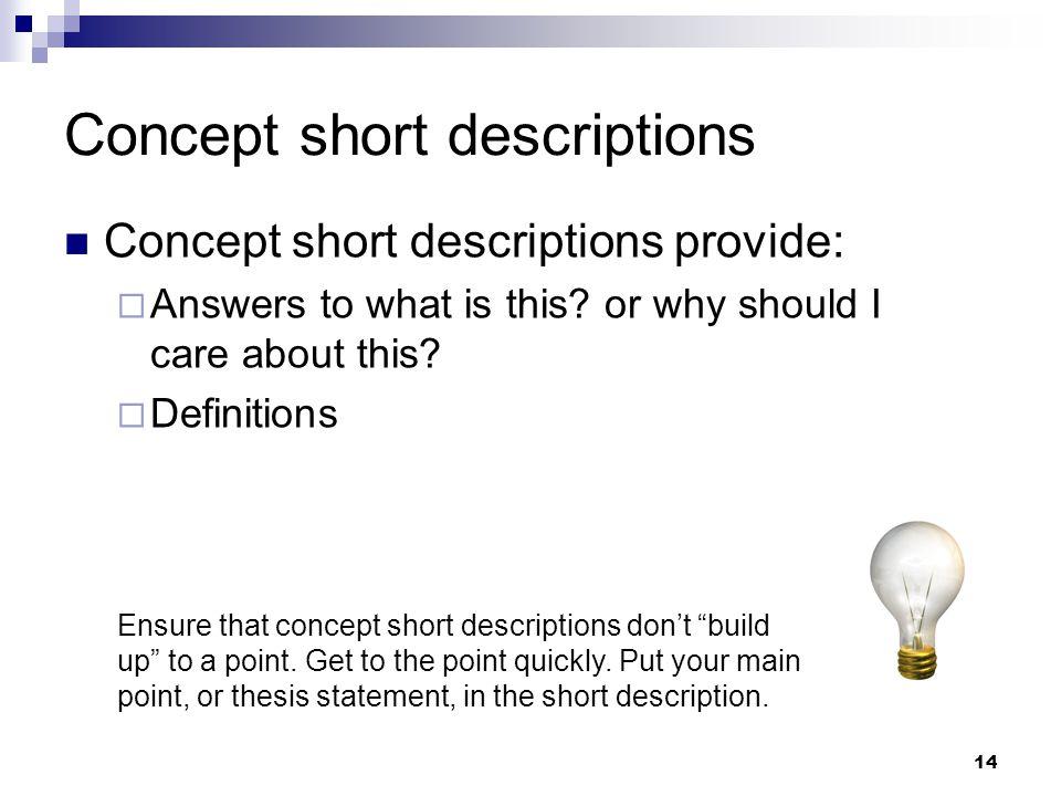 Concept short descriptions