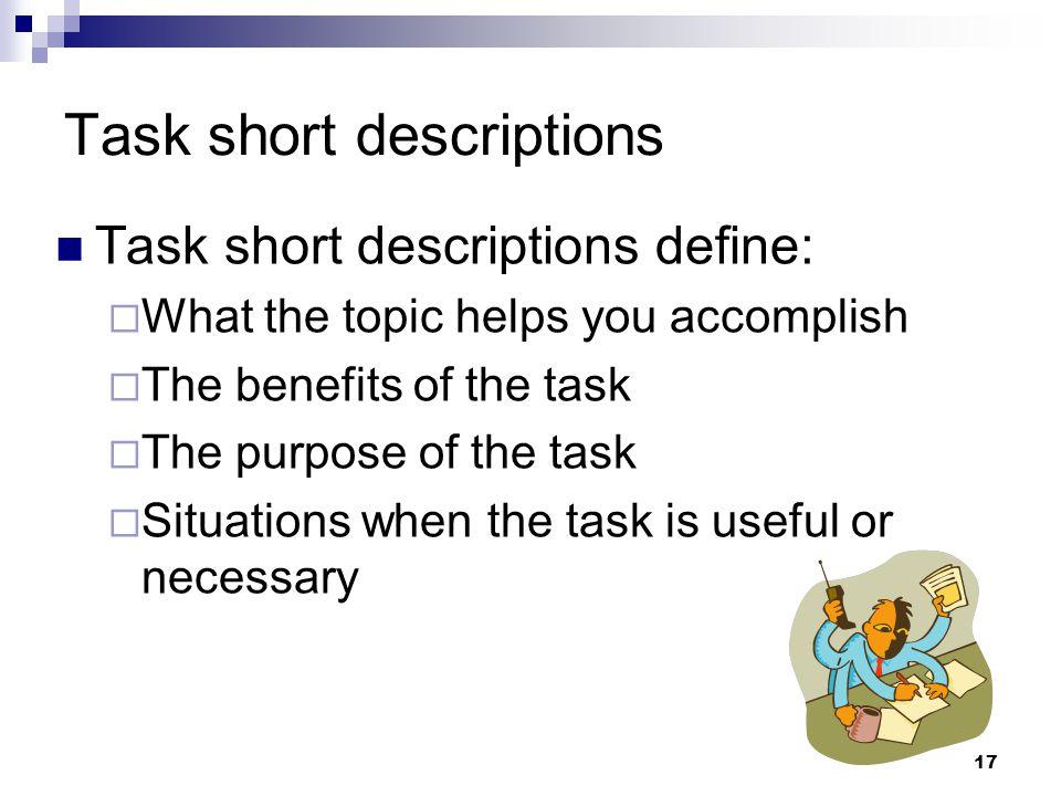 Task short descriptions