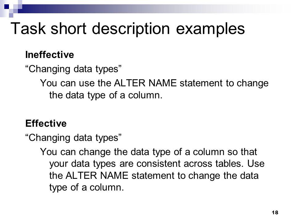 Task short description examples