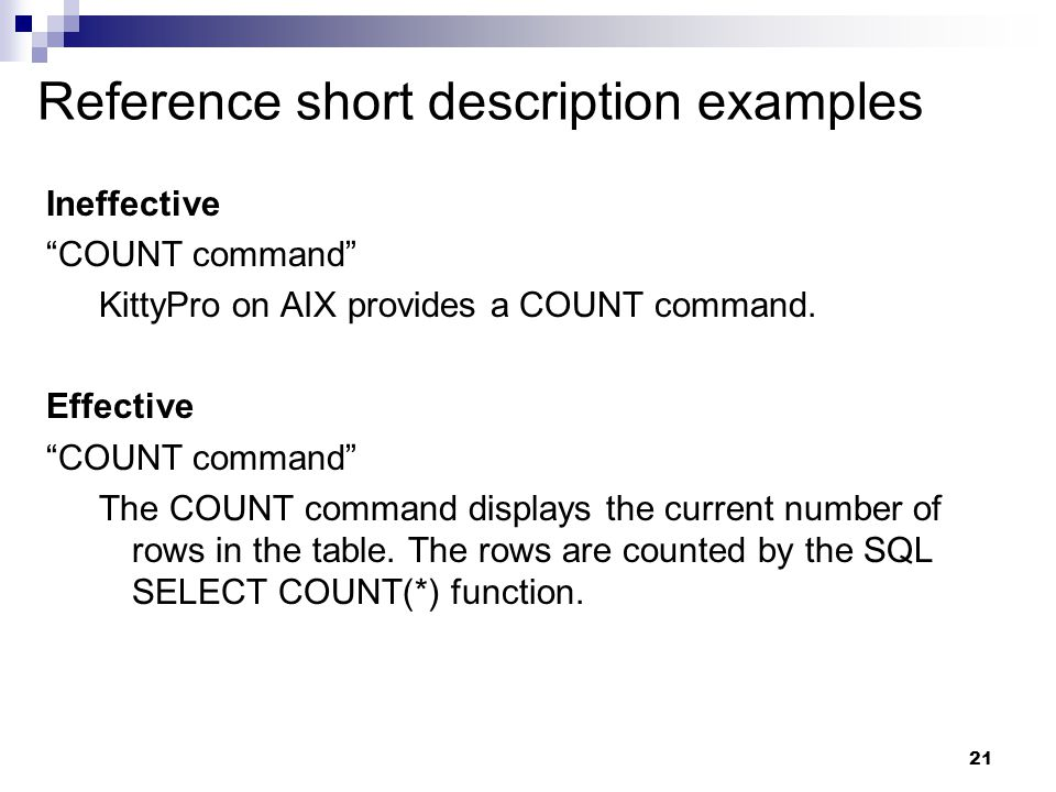 Reference short description examples