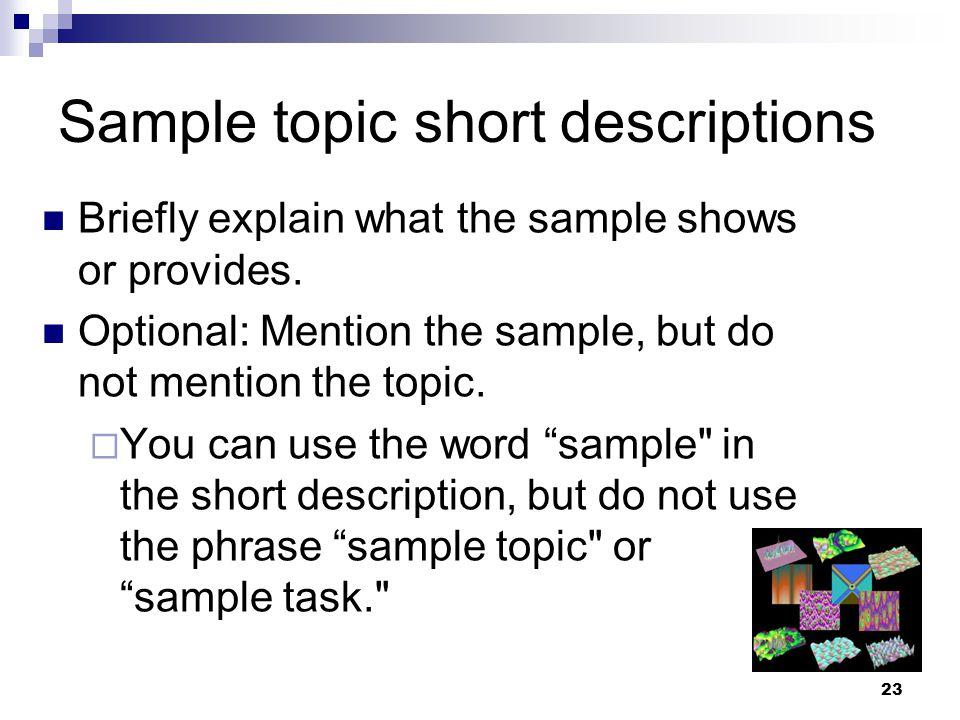 Sample topic short descriptions
