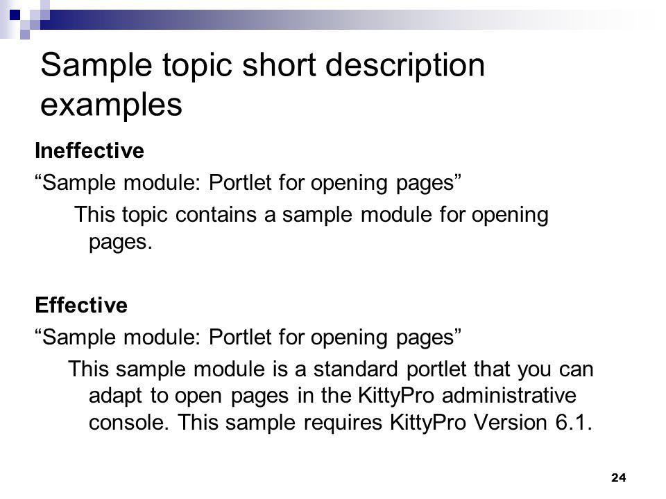Sample topic short description examples