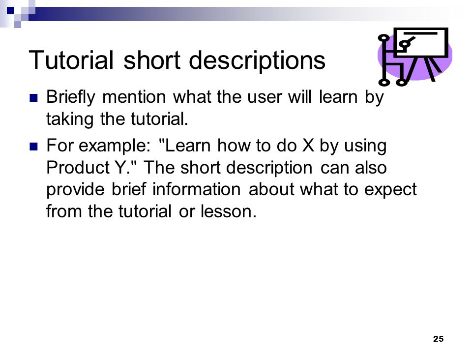 Tutorial short descriptions