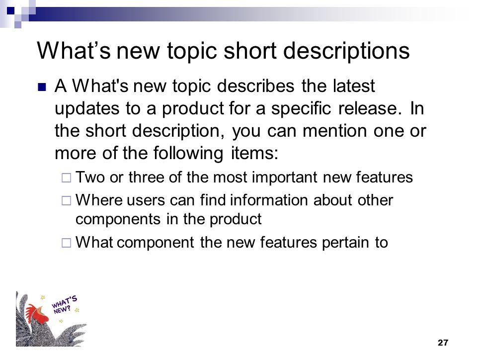 What's new topic short descriptions