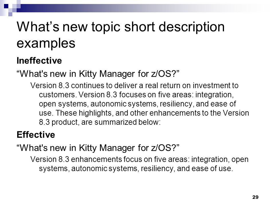 What's new topic short description examples