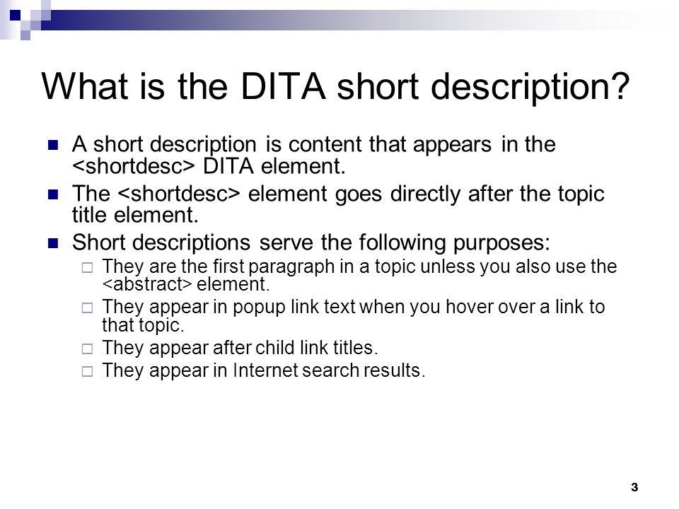 What is the DITA short description