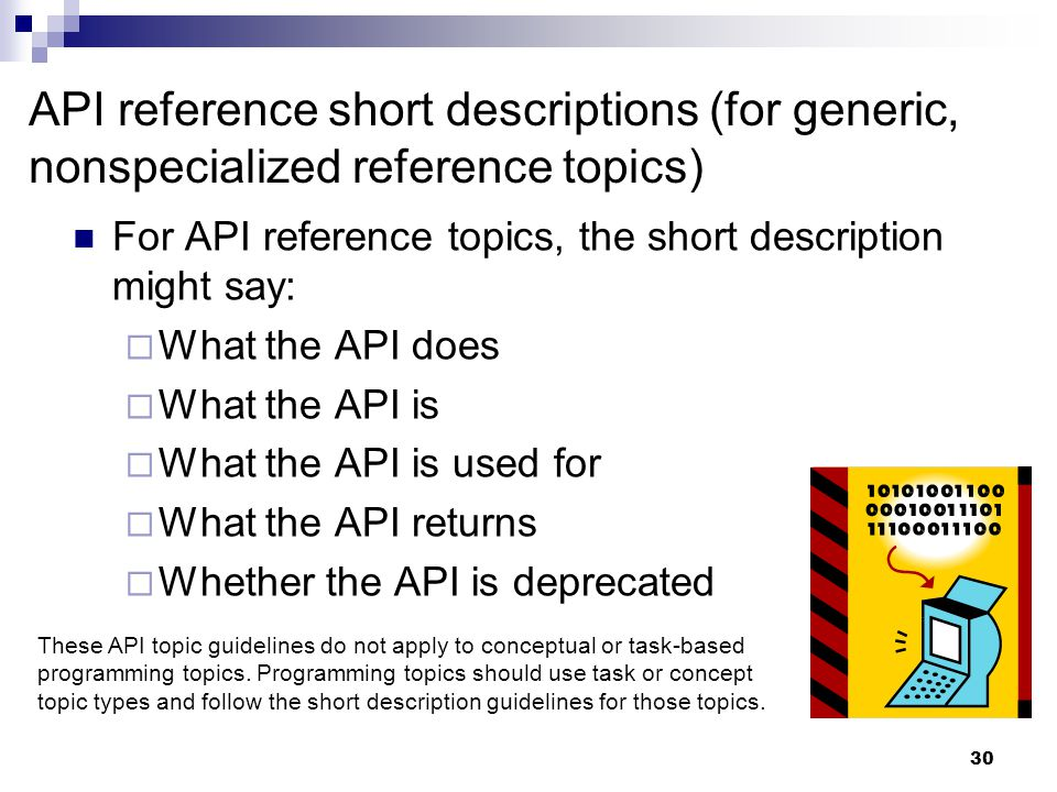 API reference short descriptions (for generic, nonspecialized reference topics)