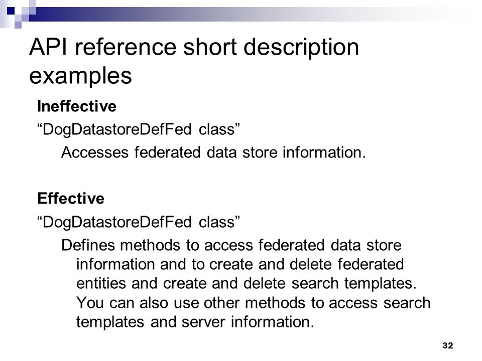 API reference short description examples