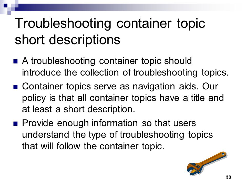 Troubleshooting container topic short descriptions