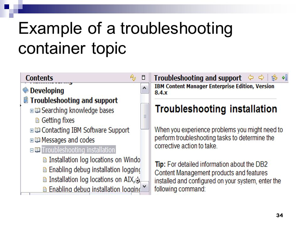 Example of a troubleshooting container topic