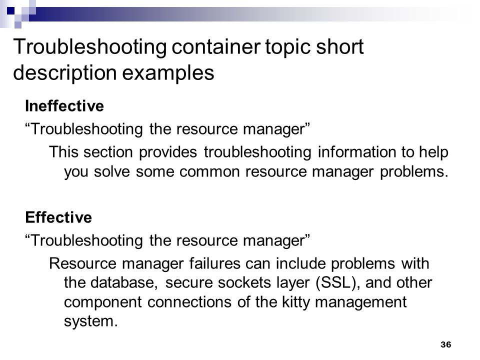 Troubleshooting container topic short description examples