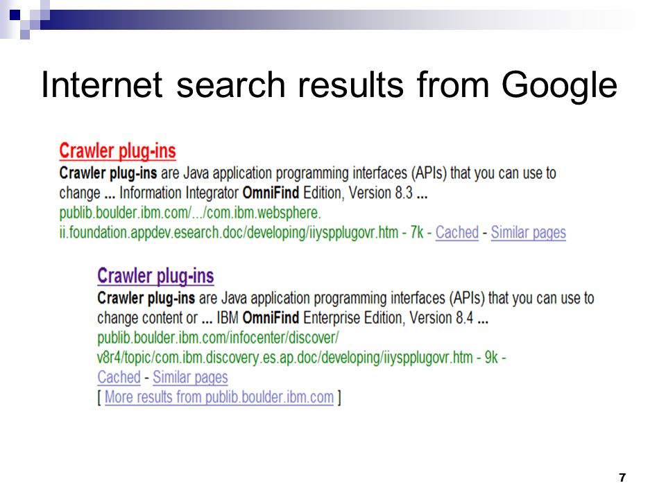 Internet search results from Google