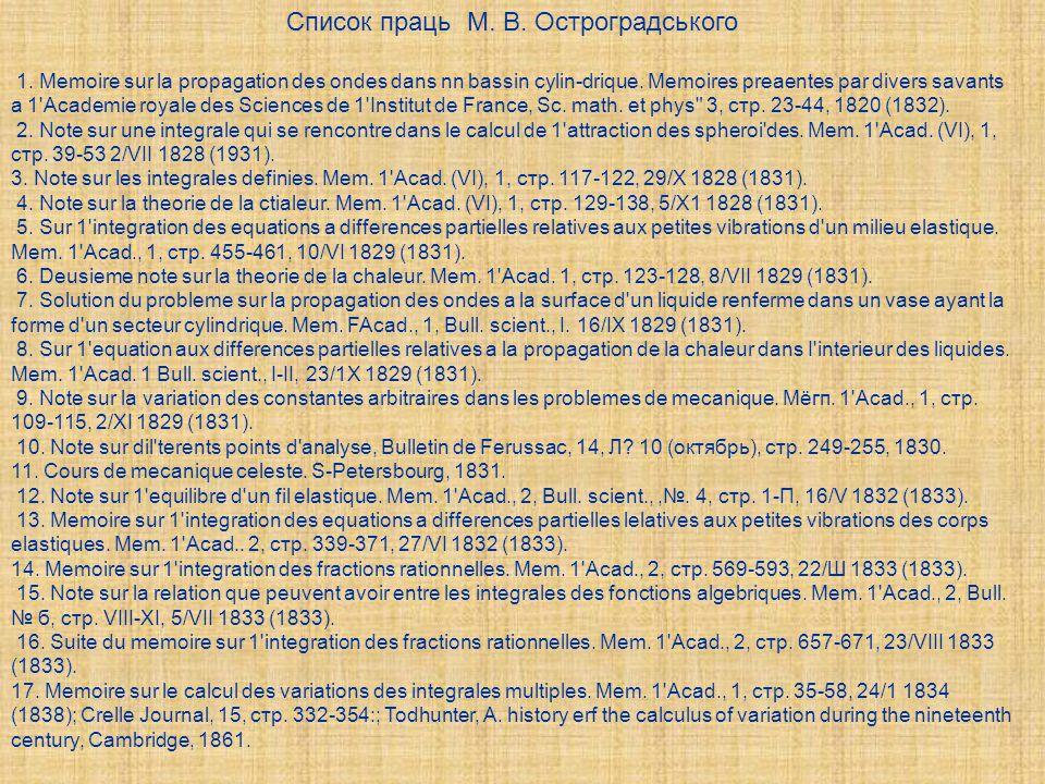 Список праць М. В. Остроградського