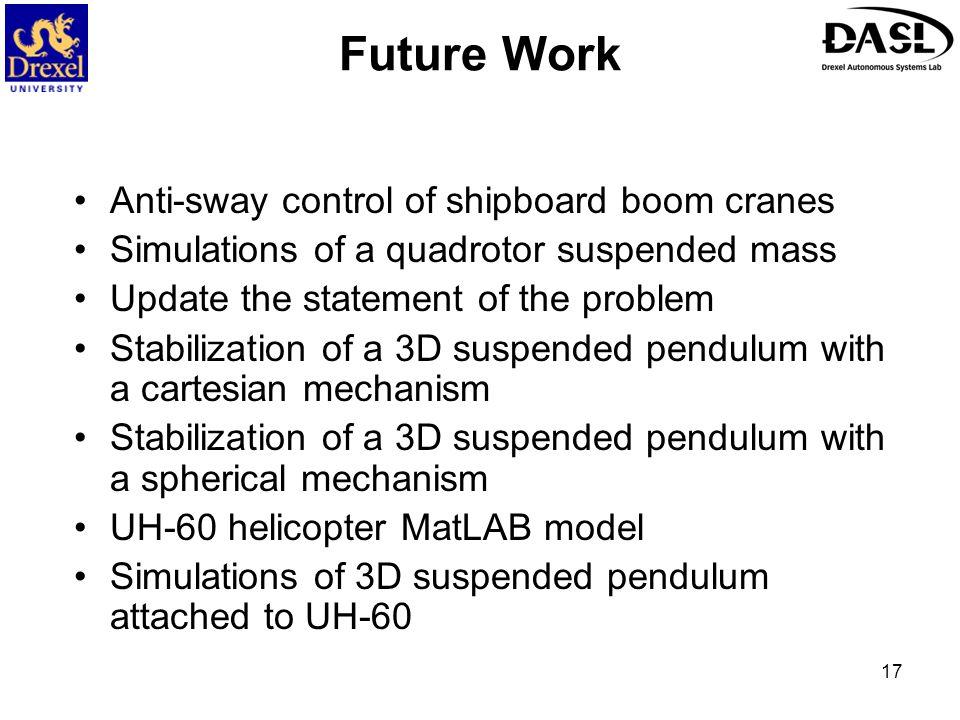 Future Work Anti-sway control of shipboard boom cranes