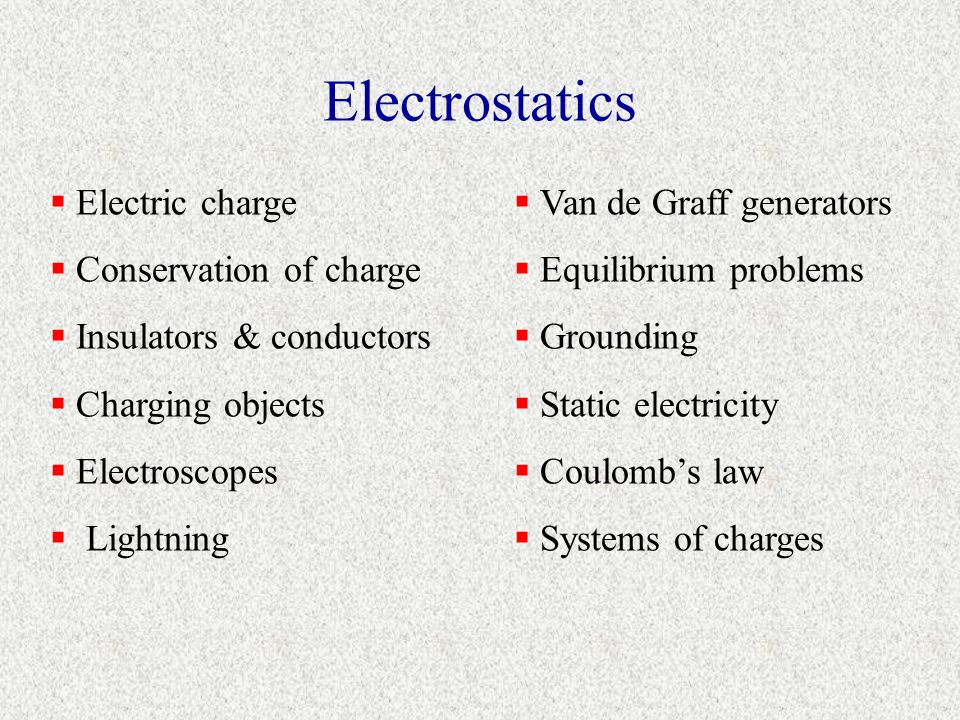 Electrostatics Electric charge Conservation of charge