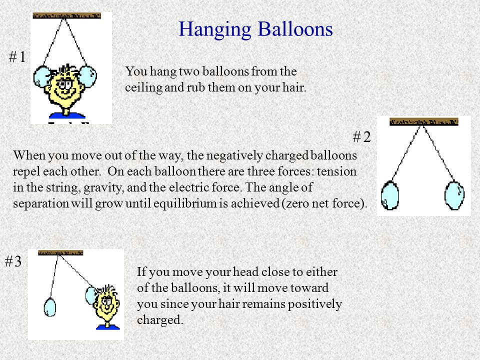 Hanging Balloons # 1. You hang two balloons from the ceiling and rub them on your hair. # 2.