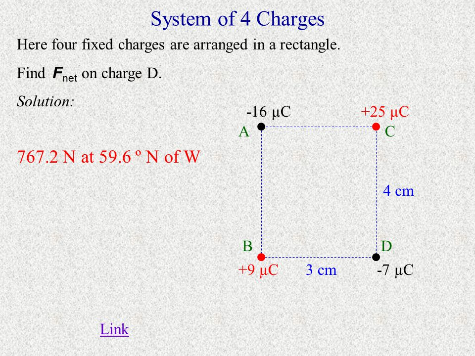 System of 4 Charges 767.2 N at 59.6 º N of W