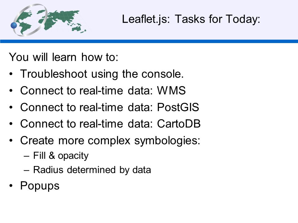 Leaflet.js: Tasks for Today: