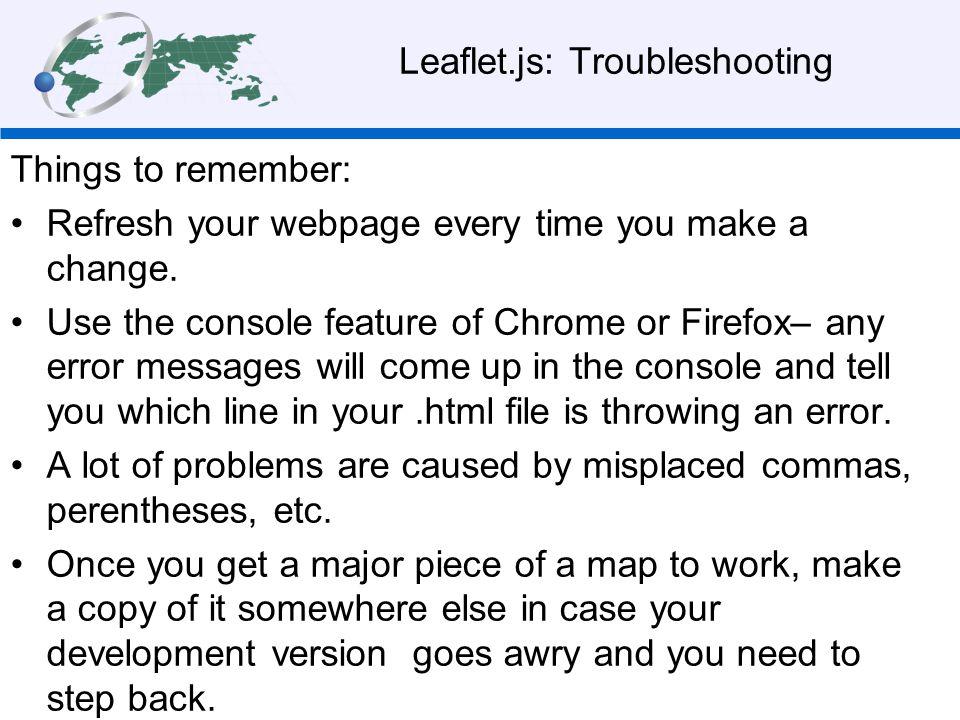 Leaflet.js: Troubleshooting