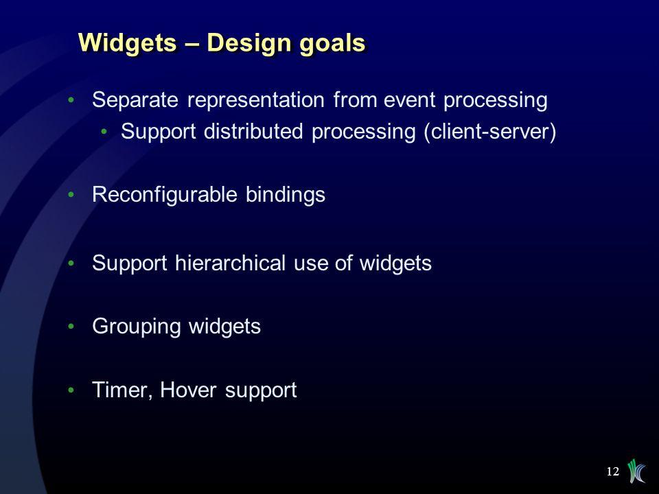 Widgets – Design goals Separate representation from event processing