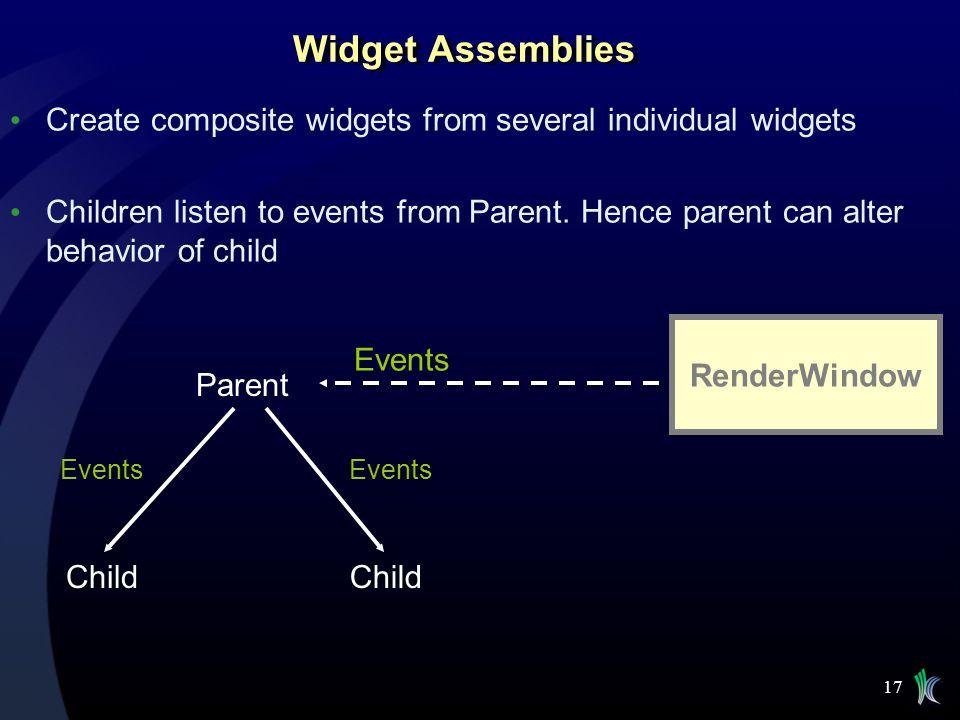 Widget Assemblies Create composite widgets from several individual widgets.