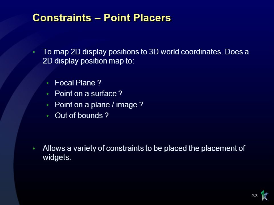 Constraints – Point Placers