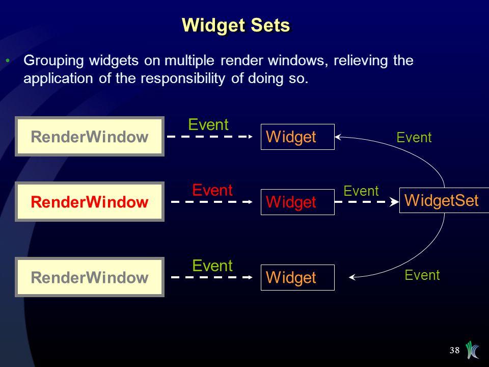 Widget Sets Event RenderWindow Widget Event RenderWindow Widget