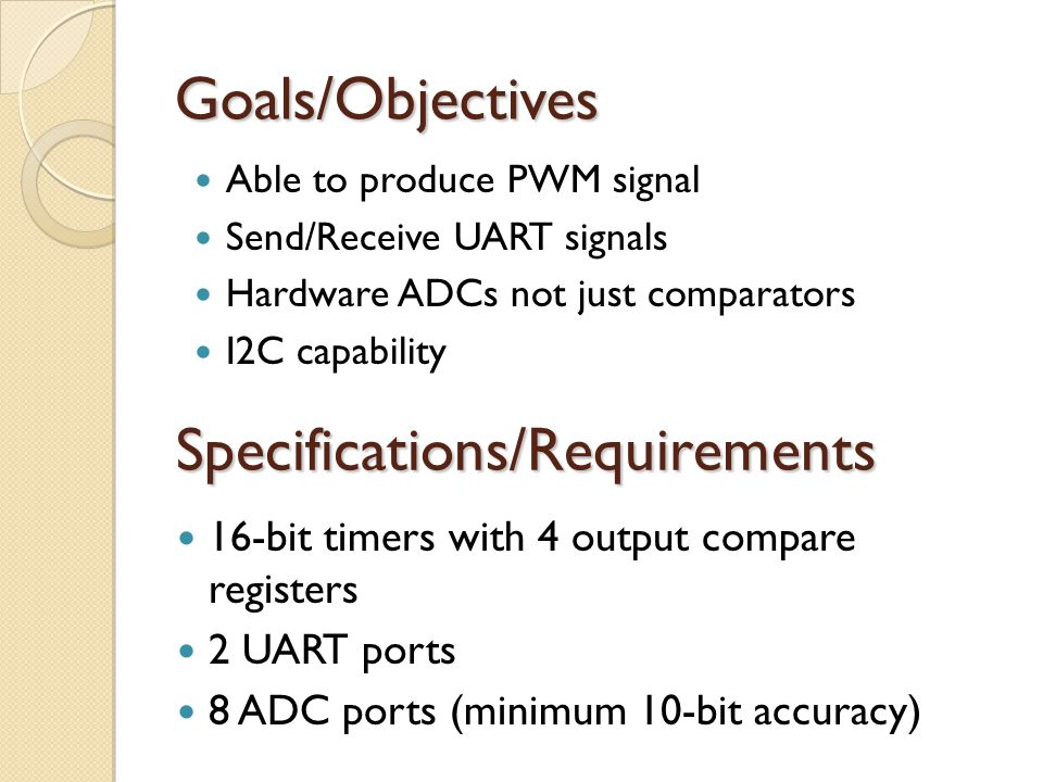 Specifications/Requirements