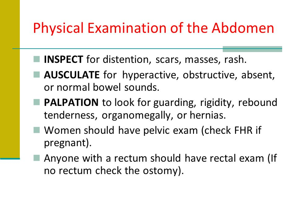 Physical Examination of the Abdomen