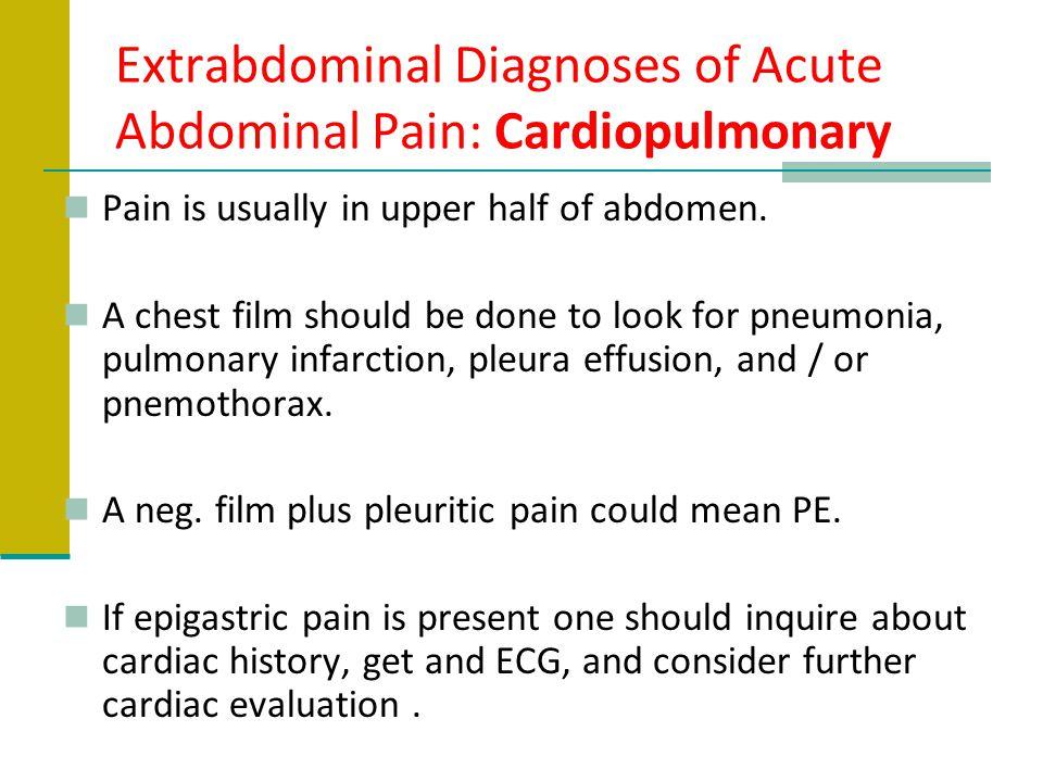 Extrabdominal Diagnoses of Acute Abdominal Pain: Cardiopulmonary