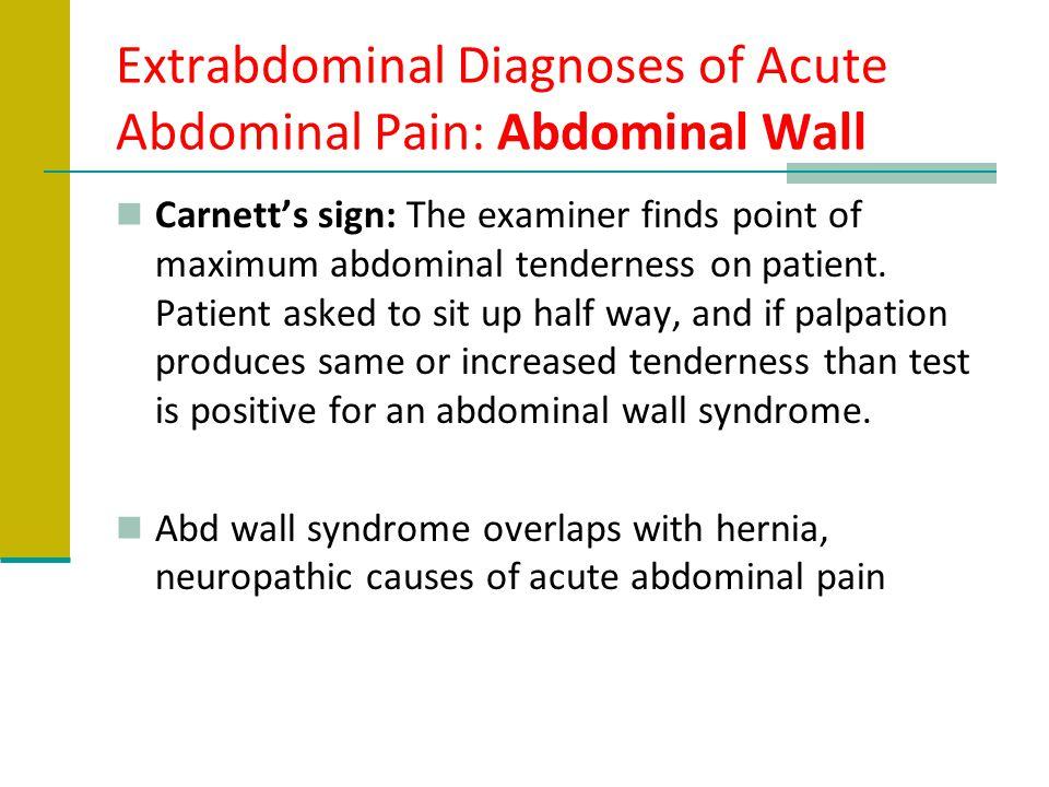 Extrabdominal Diagnoses of Acute Abdominal Pain: Abdominal Wall