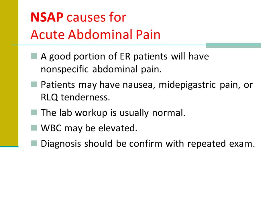 NSAP causes for Acute Abdominal Pain