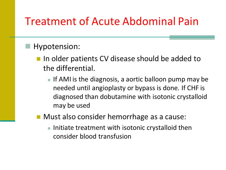 Treatment of Acute Abdominal Pain