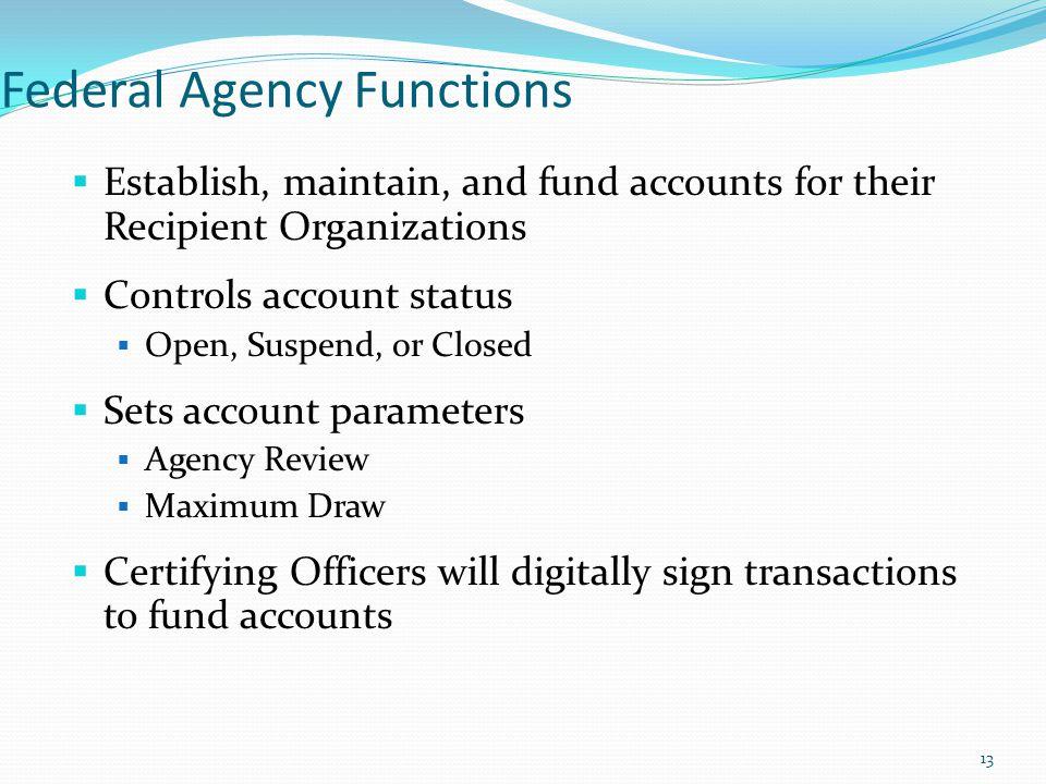 Federal Agency Functions