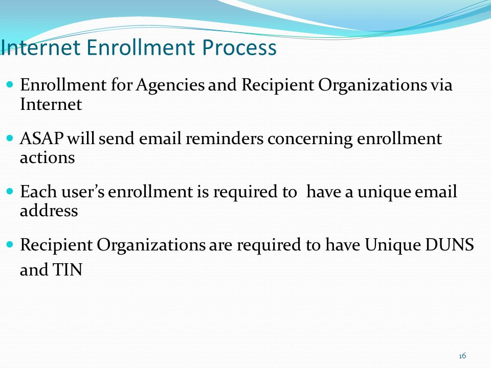 Internet Enrollment Process