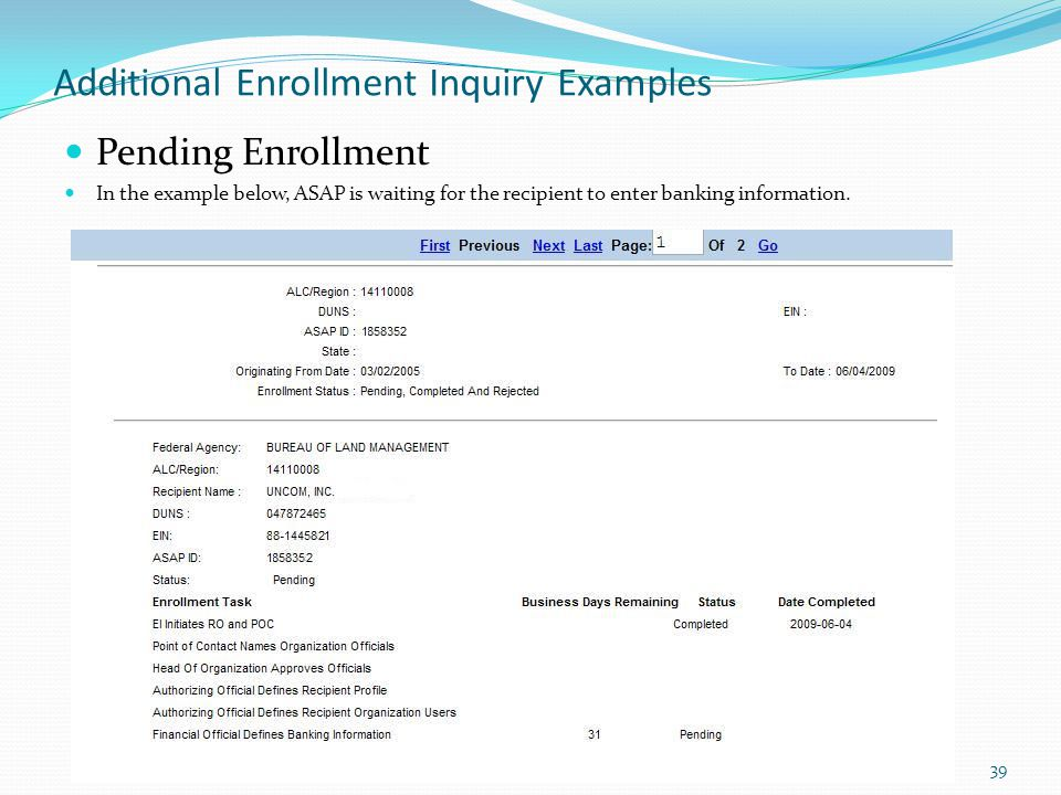 Additional Enrollment Inquiry Examples