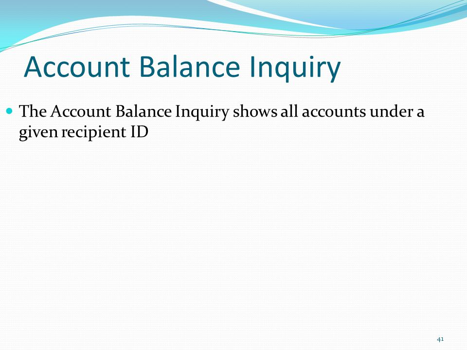 Account Balance Inquiry
