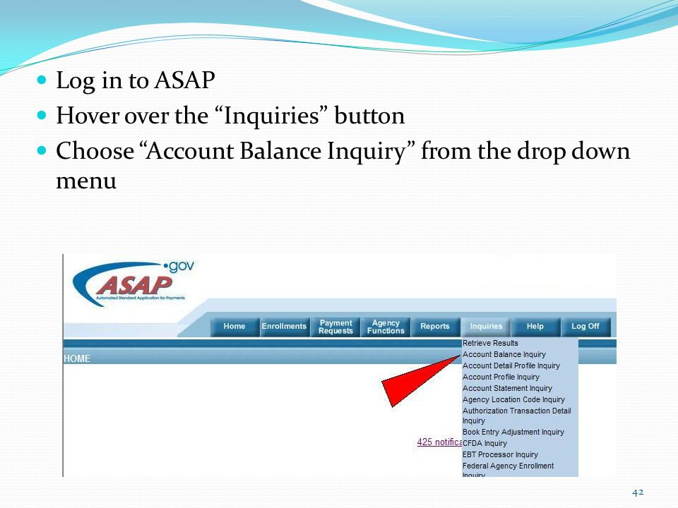 Log in to ASAP Hover over the Inquiries button.
