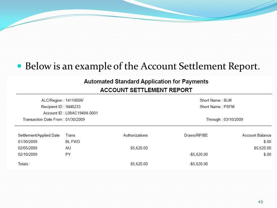 Below is an example of the Account Settlement Report.