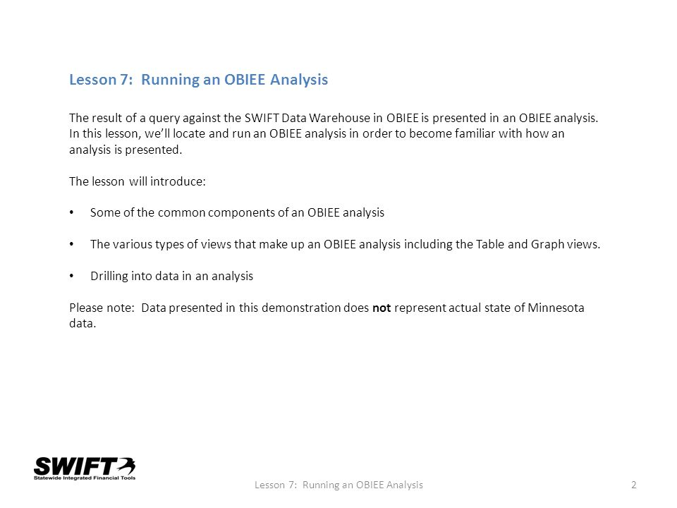 Lesson 7: Running an OBIEE Analysis