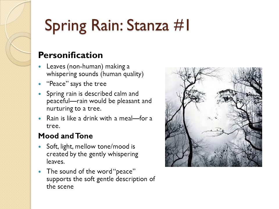 Spring Rain: Stanza #1 Personification Mood and Tone