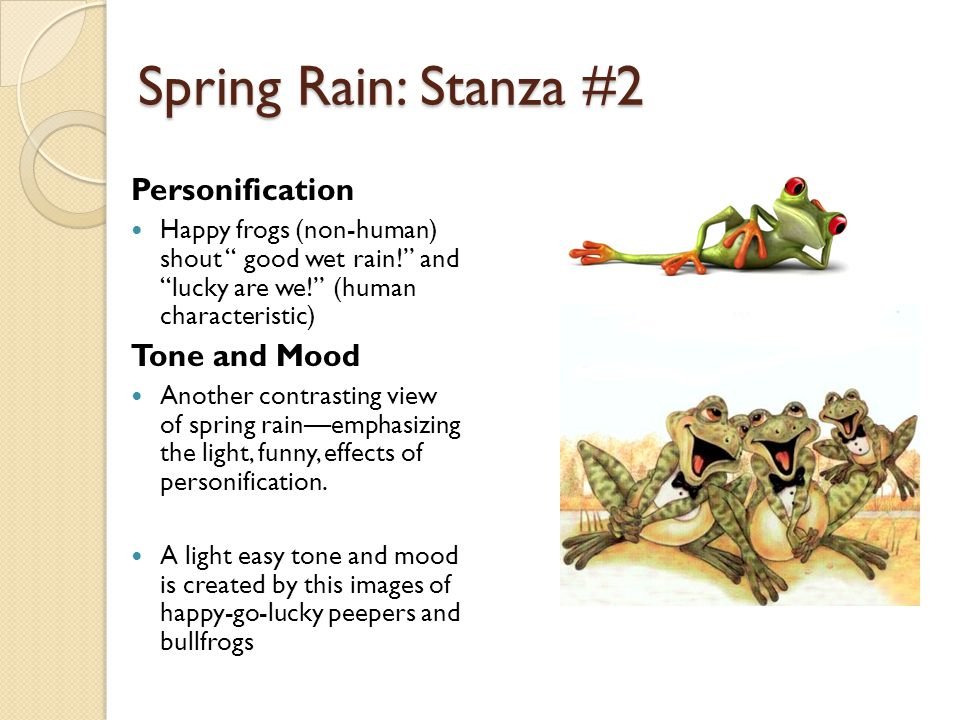 Spring Rain: Stanza #2 Personification Tone and Mood