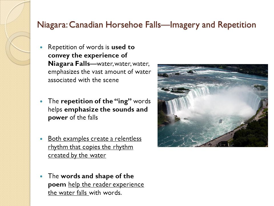 Niagara: Canadian Horsehoe Falls—Imagery and Repetition
