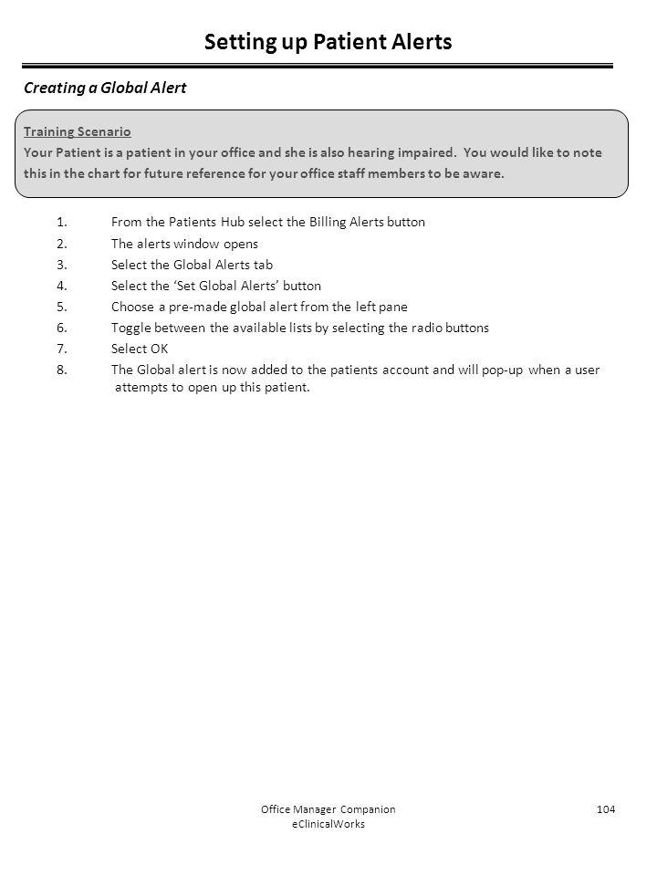 Setting up Patient Alerts