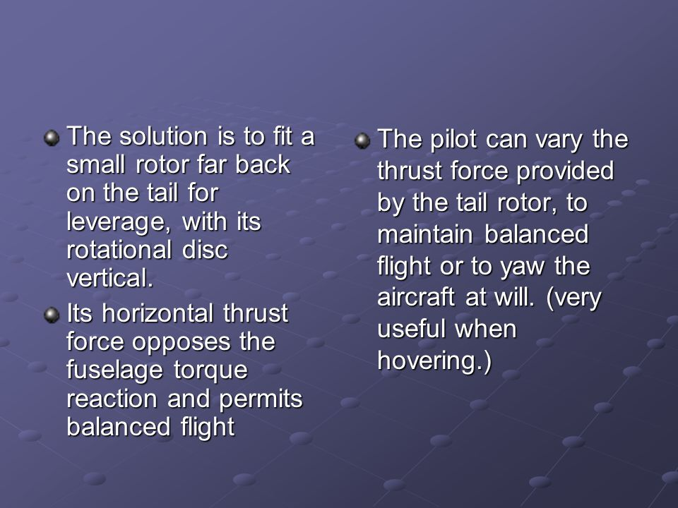 The solution is to fit a small rotor far back on the tail for leverage, with its rotational disc vertical.