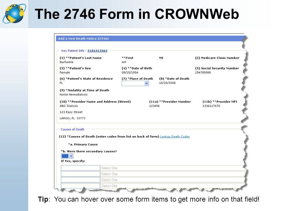 The 2746 Form in CROWNWeb Tip: You can hover over some form items to get more info on that field!