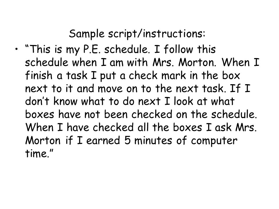 Sample script/instructions: