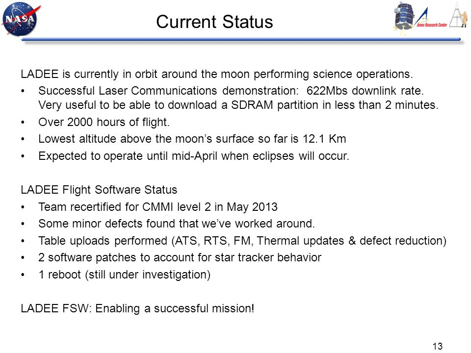 Current Status LADEE is currently in orbit around the moon performing science operations.